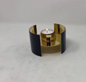 Mässing/emalj - Värmeljushållare Mörkblå 10 Image