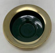 Mässing/emalj - Värmeljushållare Mörkgrön Låg Image