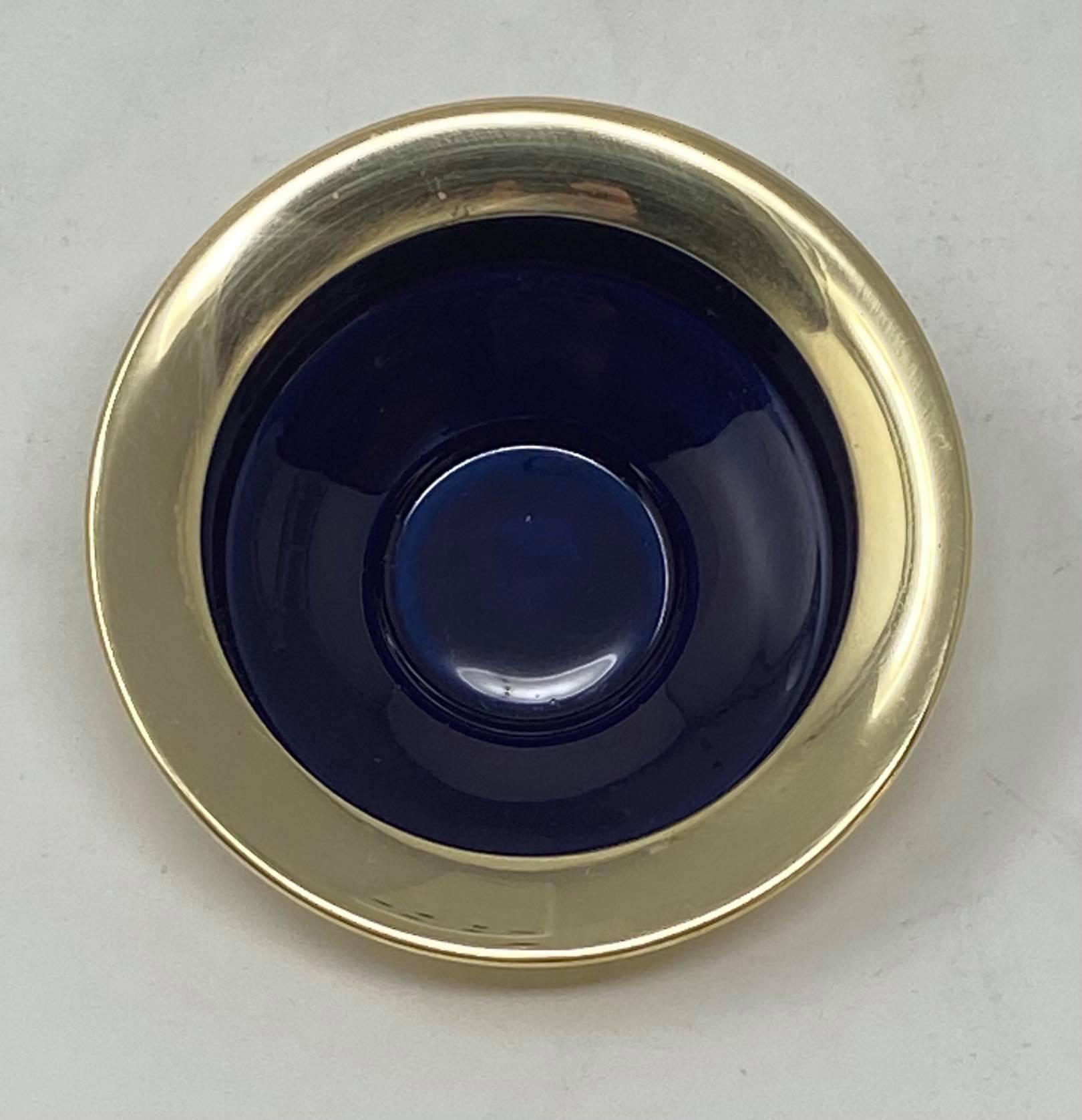 Mässing/emalj - Värmeljushållare Mörkblå Låg Image